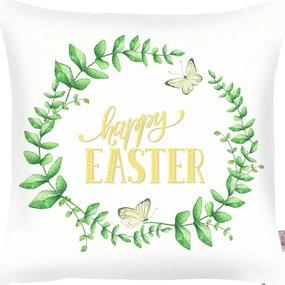 Față de pernă Apolena Happy Easter, 43 x 43 cm, verde - alb