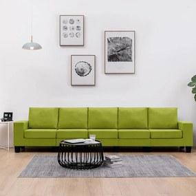 287145 vidaXL Canapea cu 5 locuri, verde, material textil
