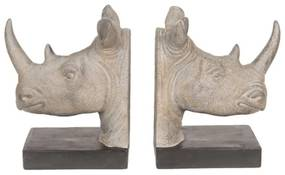 Set opritor carti pentru rafturi Rhino, Clayre & Eef, 33x16x20 cm, polirasina, gri
