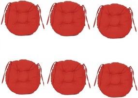 Set Perne decorative rotunde, pentru scaun de bucatarie sau terasa, diametrul 35cm, culoare rosu, 6 buc/set