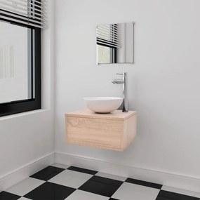 Set mobilier baie format din 3 piese cu chiuvetă inclusă, Bej