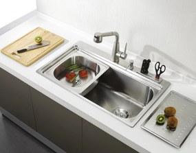 Chiuveta bucatarie inox CookingAid ARTEMIS cu dozator detergent, cuva secundara detasabila, suport pentru cutite, gratar rulabil inox + accesorii montaj
