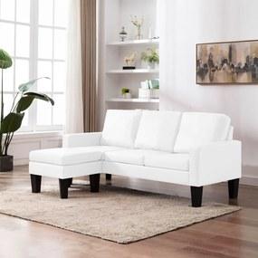 288768 vidaXL Canapea cu 3 locuri și taburet, alb, piele ecologică