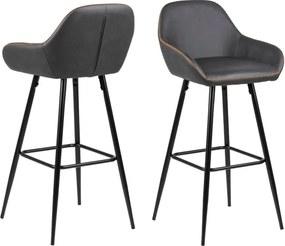 Set 2 scaune de bar Actona Candis, gri - bej