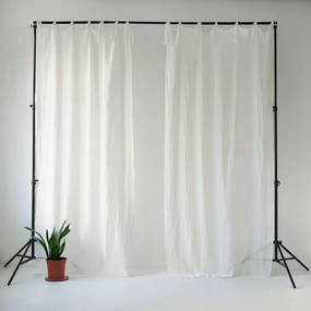 Draperie subțire cu bucle de prindere Linen Tales Daytime, 250 x 130 cm, alb