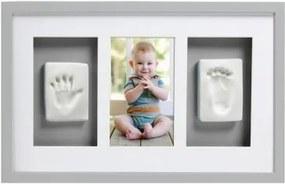 Pearhead - Kit rama foto simpla cu amprenta mulaj manuta si piciorus - gri