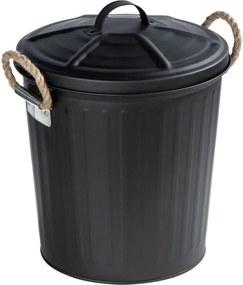 Coș de baie cu capac GARA, negru, 6 l, WENKO