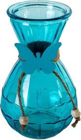 Vaza sticla albastru Butterfly Pink 15 cm