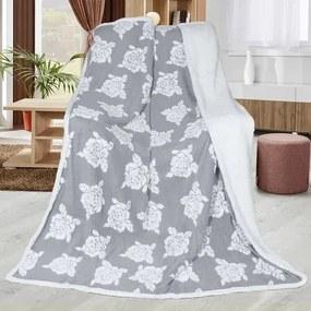 Pătură imitație lână Trandafir gri, 150 x 200 cm