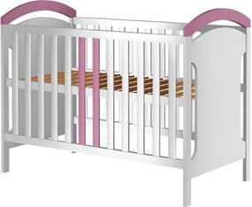 Patut copii din lemn Hansell 120x60 cm alb-roz