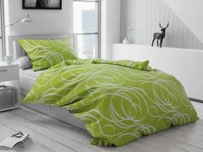 Lenjerie de pat bumbac Aromis verde Tip plic hotel Dimensiune lenjerie de pat: 70x90 cm, 140x200 cm