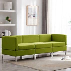 3052724 vidaXL Set de canapele, 3 piese, verde, material textil