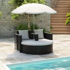 40735 vidaXL Pat de grădină cu umbrelă de soare, negru, poliratan
