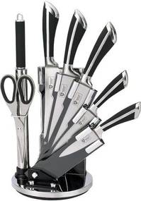 Set cutite inox Royalty Line+suport,8 piese,negru