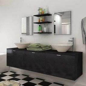 Set mobilier baie 10 piese cu chiuvete și robinete incluse, Negru