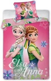 Lenjerie de pat pentru copii Frozen Sisters roz 140x200 cm