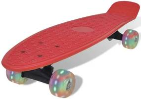 Skateboard retro cu roți cu LED-uri Roșu