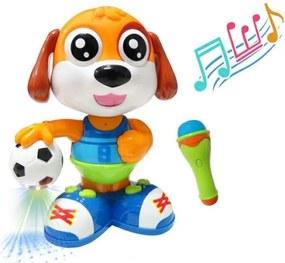 Jucarie interactiva Catel cu minge de fotbal si microfon, merge, canta si danseaza