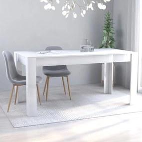 801298 vidaXL Masă de bucătărie, alb extralucios, 160 x 80 x 76 cm, PAL