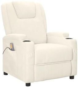 321312 vidaXL Fotoliu de masaj rabatabil, alb crem, piele ecologică