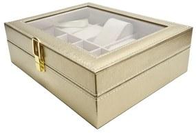 Cutie pentru Ceasuri si Bijuterii, 10 spatii, Auriu, 25x20x8 CM