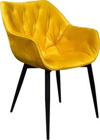 Fotoliu de design, material textil galben, FEDRIS