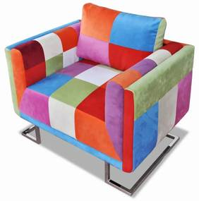 240895 vidaXL Fotoliu cub, picioare cromate, model Patchwork, material textil