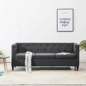 Canapea Chesterfield cu 3 locuri gri închis tapițerie țesătură