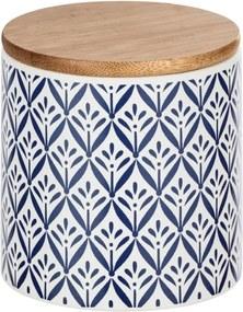 Cutie depozitare din ceramică cu capac din bambus Wenko Lorca, 450 ml