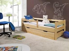 Pat pentru copii cu sina de protectie 160x70 cm verde natural pat fără spațiu de depozitare