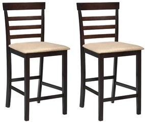 Set 2 scaune de bar din lemn, maro cu bej