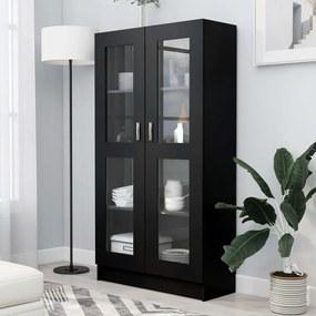 802760 vidaXL Dulap cu vitrină, negru, 82,5 x 30,5 x 150 cm, PAL