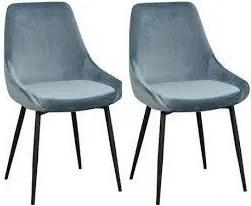 Set de 2 scaune Sierra din catifea, albastru