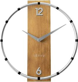 Ceas de perete Lavvu Compass Wood argintiu, diam. 31 cm