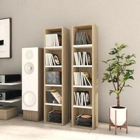 802701 vidaXL Dulapuri CD-uri, 2 buc. alb/stejar Sonoma, 21x16x93,5 cm, PAL