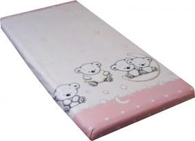 Cearceaf din bumbac cu elastic 120x60 cm Teddy Pink