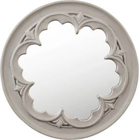 Oglinda rotunda decorativa de perete din polirasina gri vintage Ø 50x4 cm