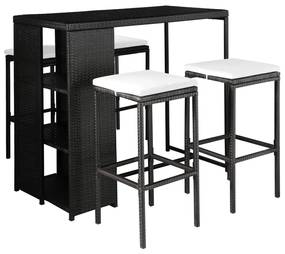44177 vidaXL Set mobilier de exterior cu perne, 5 piese, negru, poliratan