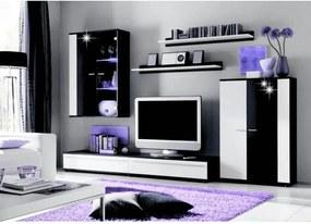 Ansamblu living, cu iluminare LED, alb/negru extra lucios HG, CANES NEW