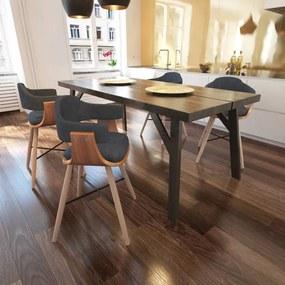 271946 vidaXL Scaune de bucătărie, 4 buc., gri închis, lemn curbat & țesătură