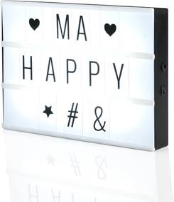 [in.tec]® Tabla de scris iluminata LED - cu litere si numere - decoratiune vintage