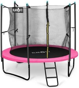 Klarfit Rocketgirl 250, 250 cm trambulină, plasă internă de securitate, scară largă, roz