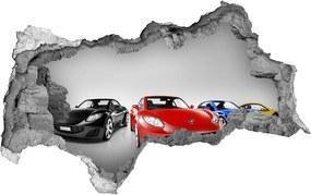 Fototapet 3D gaură în perete Mașini colorate