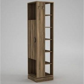 Dulap înalt cu rafturi și cuiere Roll Walnut, înălțime 180 cm