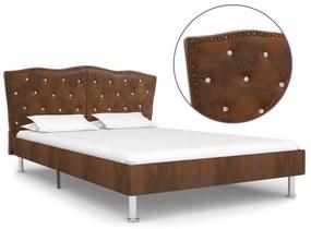 280544 vidaXL Cadru de pat, maro, 140 x 200 cm, piele întoarsă artificială