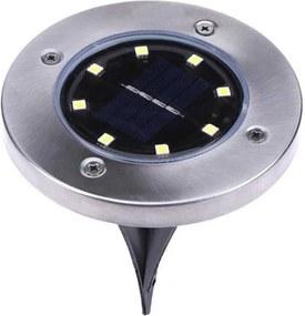 LAMPA SOLARA PENTRU TERASA/GRADINA, TIP SPOT , 8 LEDURI, 11.5X13 CM, IMPERMEABIL, ARGINTIU, METAL/STICLA