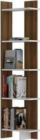 Bibliotecă în decor de lemn de nuc cu detalii albe Als Walnut White