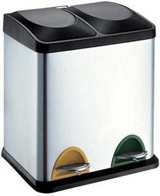 Coș de inox pentru selectare deșeuri Toro 2 x 15 litri