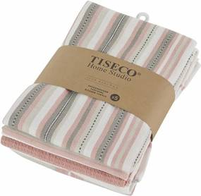 Set 5 prosoape de bumbac Tiseco Home Studio, 50 x 70 cm, roz/portocaliu