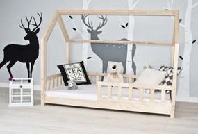 Pat-căsuță pentru copii cu barieră de protecție – natural House bed 180x80 cm